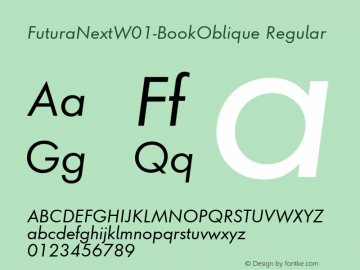 FuturaNextW01-BookOblique Regular Version 1.512 Font Sample