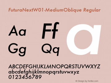 FuturaNextW01-MediumOblique Regular Version 1.512 Font Sample