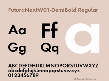 FuturaNextW01-DemiBold Regular Version 1.512 Font Sample