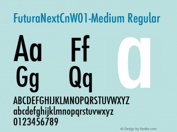 FuturaNextCnW01-Medium Regular Version 1.512 Font Sample