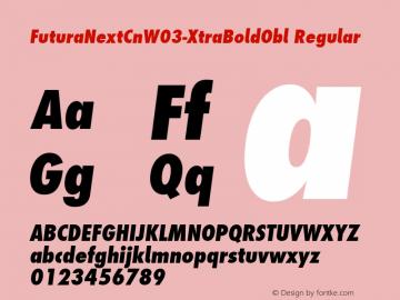 FuturaNextCnW03-XtraBoldObl Regular Version 1.512 Font Sample