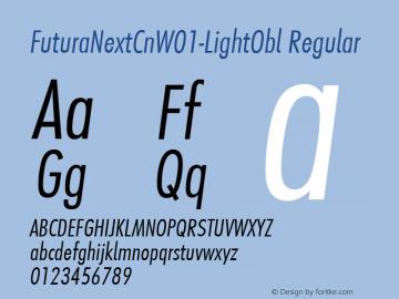 FuturaNextCnW01-LightObl Regular Version 1.512 Font Sample