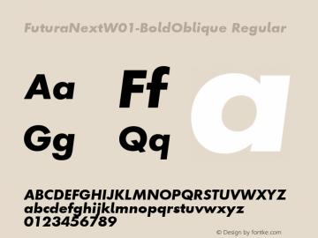 FuturaNextW01-BoldOblique Regular Version 1.512 Font Sample