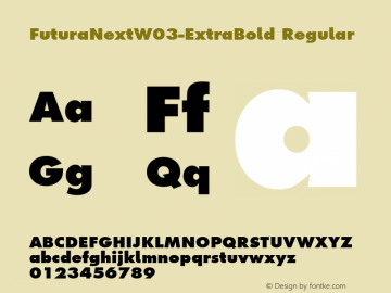 FuturaNextW03-ExtraBold Regular Version 1.512 Font Sample