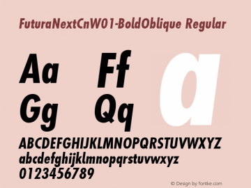 FuturaNextCnW01-BoldOblique Regular Version 1.512 Font Sample