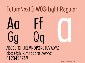 FuturaNextCnW03-Light Regular Version 1.512 Font Sample