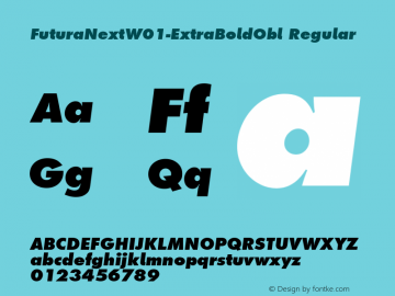 FuturaNextW01-ExtraBoldObl Regular Version 1.512 Font Sample