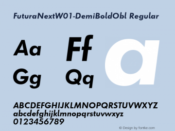 FuturaNextW01-DemiBoldObl Regular Version 1.512 Font Sample