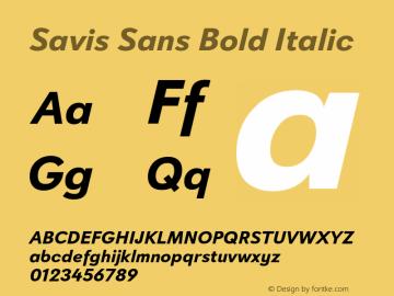 Savis Sans Bold Italic Version 1.000图片样张