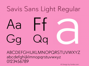 Savis Sans Light Regular Version 1.000图片样张