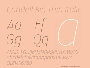 Condell Bio Thin Italic Version 1.000图片样张