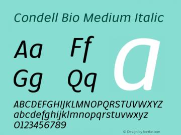 Condell Bio Medium Italic Version 1.000图片样张
