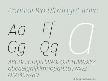Condell Bio UltraLight Italic Version 1.000图片样张