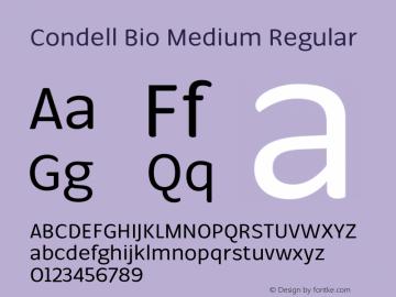 Condell Bio Medium Regular Version 1.000;PS 001.000;hotconv 1.0.88;makeotf.lib2.5.64775图片样张