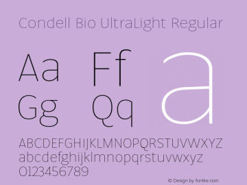 Condell Bio UltraLight Regular Version 1.000图片样张