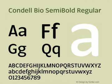 Condell Bio SemiBold Regular Version 1.000;PS 001.000;hotconv 1.0.88;makeotf.lib2.5.64775图片样张