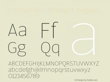 Condell Bio UltraLight Regular Version 1.000;PS 001.000;hotconv 1.0.88;makeotf.lib2.5.64775图片样张