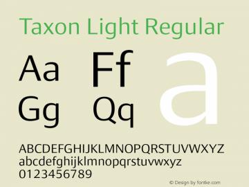 Taxon Light Regular Version 1.000 Font Sample