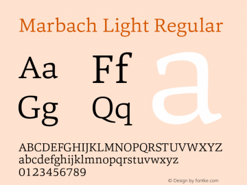 Marbach Light Regular Version 1.000 Font Sample
