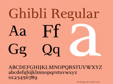 Ghibli Regular Version 2.0 Font Sample