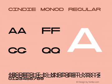 Cindie MonoD Regular Version 1.000;PS 002.000;hotconv 1.0.70;makeotf.lib2.5.58329图片样张