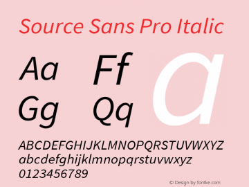 Source Sans Pro Italic Version 1.075;PS 2.000;hotconv 1.0.86;makeotf.lib2.5.63406 Font Sample