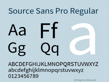 Source Sans Pro Regular Version 2.020;PS 2.000;hotconv 1.0.86;makeotf.lib2.5.63406 Font Sample
