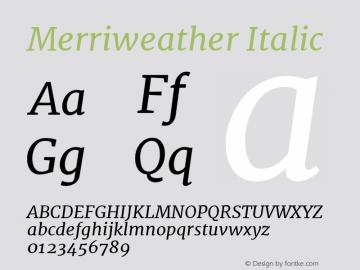 Merriweather Italic Version 1.001 Font Sample