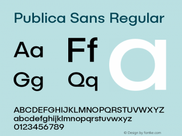 Publica Sans Regular Version 1.000;PS 001.000;hotconv 1.0.88;makeotf.lib2.5.64775 Font Sample
