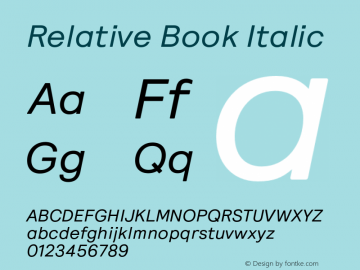 Relative Book Italic Version 1.000图片样张
