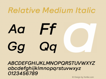 Relative Medium Italic Version 1.000图片样张