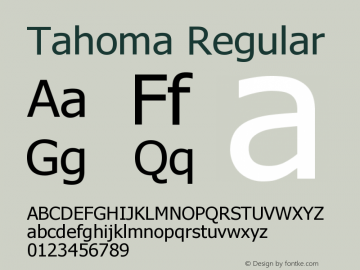 Tahoma Regular Version 3.15 Font Sample