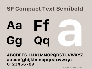 SF Compact Text Semibold 12.0d8e1 Font Sample