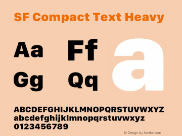 SF Compact Text Heavy 12.0d8e1 Font Sample