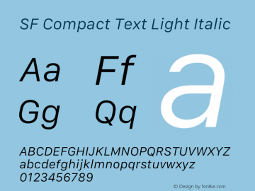 SF Compact Text Light Italic 12.0d8e1 Font Sample
