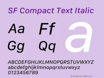 SF Compact Text Italic 12.0d8e1 Font Sample