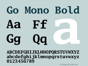 Go Mono Bold Version 2.004 Font Sample