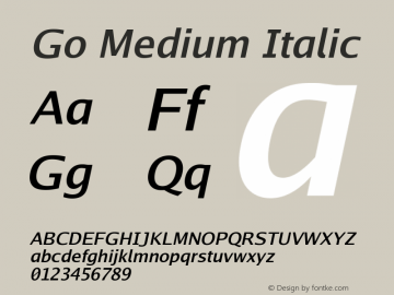 Go Medium Italic Version 2.004 Font Sample
