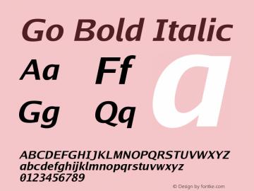 Go Bold Italic Version 2.004 Font Sample