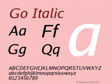 Go Italic Version 2.004 Font Sample