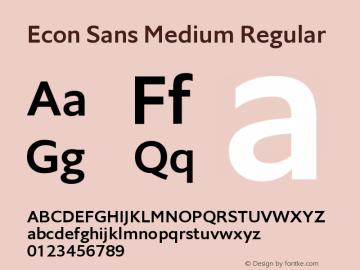 Econ Sans Medium Regular Version 1.000 Font Sample