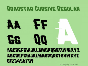 Roadstar Cursive Regular Version 1.001;PS 001.001;hotconv 1.0.88;makeotf.lib2.5.64775图片样张