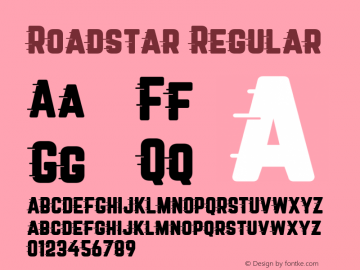 Roadstar Regular Version 1.031 Font Sample