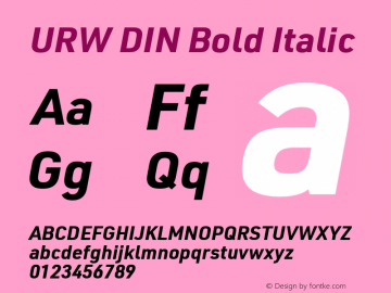 URW DIN Bold Italic Version 3.00 Font Sample