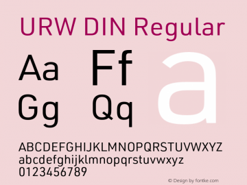 URW DIN Regular Version 3.00 Font Sample