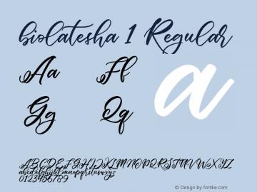 biolatesha 1 Regular Unknown Font Sample