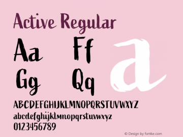 Active Regular Version 1.000;PS 001.000;hotconv 1.0.70;makeotf.lib2.5.58329 Font Sample
