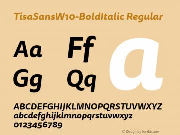 TisaSansW10-BoldItalic Regular Version 7.504 Font Sample