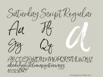 Saturday Script Regular Version 1.000 Font Sample