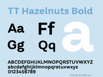 TT Hazelnuts Bold Version 1.000; ttfautohint (v1.5) Font Sample